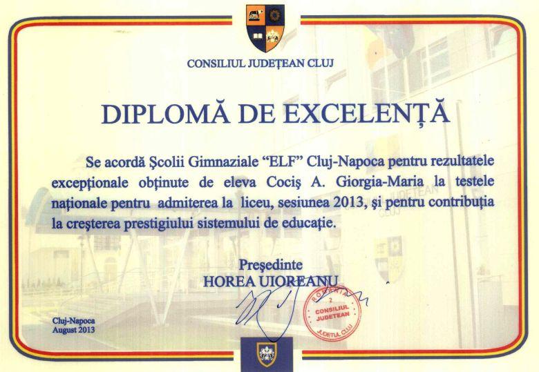 Diploma Consiliul judetean Giorgia Cocis 20013