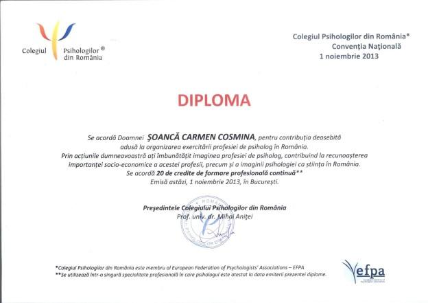 Diploma Carmen Soanca