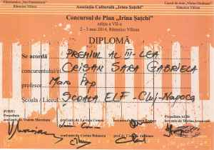 Premiul III Valcea 2014 Crisan Sofia